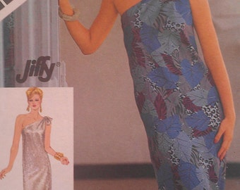 Vintage 70s One Shoulder SLINKY Slim Fit Evening Day Dress w/ Slit Easy Sewing Pattern 6430 B32 34 36