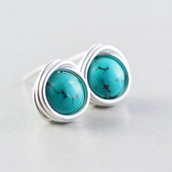 Turquoise Studs, Sterling Post Earrings, December Birthday, Handmade