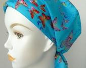 Blue Butterflies Chemo Cancer Hair Loss Scarf Turban Hat Bad Hair Day Headcover Hairwrap