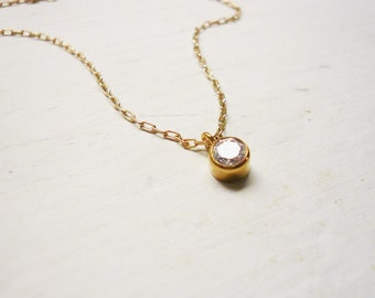 Tiny Diamond Look Necklace in Gold - Tiny Crystal and Gold Filled - Dainty Everyday Necklace