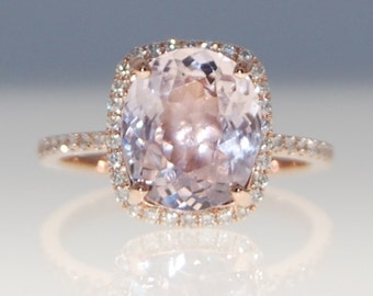 Sapphire Engagement Ring 14k Rose Gold Diamond Ring 3.42ct Cushion Mauve Blush Ice Peach Champagne Sapphire