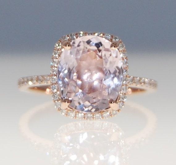 Rose Gold Engagement Ring Peach Sapphire Ring By EidelPrecious