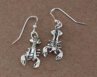 Earrings - Sterling Silver 3D MOVEABLE LOBSTER - Marinelife, Ocean, Sea, Food