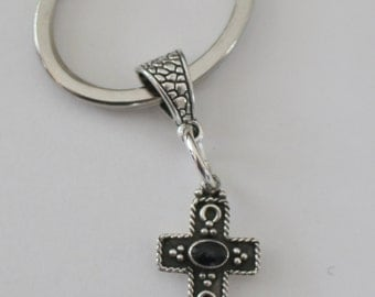 Sterling SOUTHWEST CROSS Key Ring, Key Chain - Western, Religious