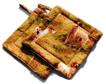 Handmade Quilted  Pot Holders set of 2 Hunting Dogs Khaki Green Outdoors Field Grass