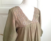 Medicine Woman Pagan Healer-  Hand Dyed Dusty Green Brown Rose Ombre Batik with Broderie Anglaise Eyelet Lace