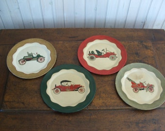 Set of 4 Hand Painted Tin Plates with Antique Cars Automobiles Roadsters