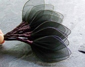 Vintage Millinery-Vintage Black Nylon Netting Leaf Wing Millinery Stems-1 Dozen