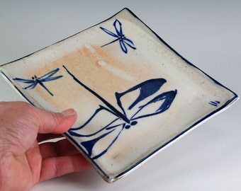 Porcelain Plate with Dragonflies