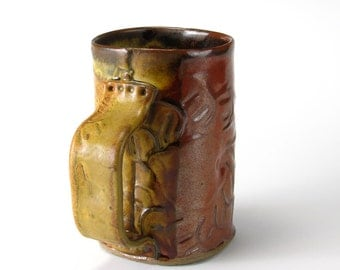 Tomato And Gold Salvage Textured Mug