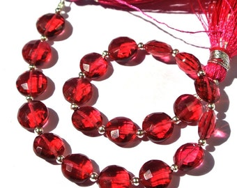 8 Inches Super Finest AAA Red Quartz Faceted Coin Briolettes Size 8x8mm Approx