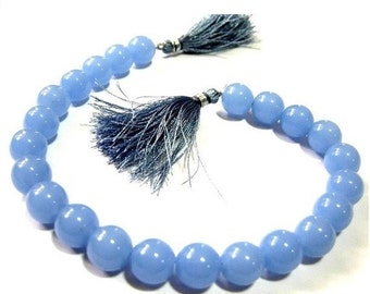 1/2 Strand 12mm AAA Ocean Blue Chalcedony smooth round beads