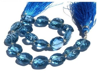1/2 Strand - Outrageous AAA London Blue Quartz Faceted Cushion Briolettes Size 10x10mm approx