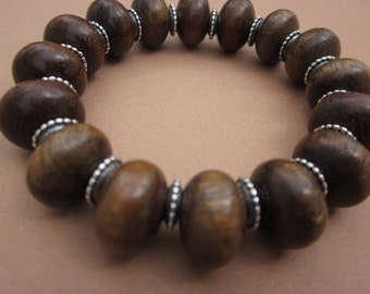 large wood bead stretch bracelet with metal spacer beads