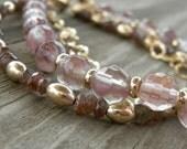 Oregon Sunstone Andalusite Gold Multistrand Bracelet