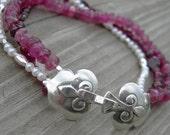 Pink Tourmaline Garnet Pearl Silver Multistrand Bracelet