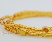 Beaded bracelet, gold glass seedbeads 2mm, stretchy, 7.5 inch, S30