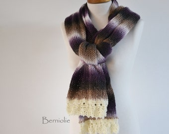 Knitted scarf, browns, creme and purple with purple lace crochet trim K103