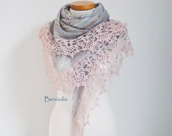 Knitted shawl in pastel colors with soft pink crochet lace trim M259