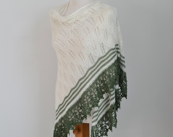 Lace knitted shawl, ivory with green crochet trim, M149