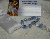 Christening Pocket Rosary/Single Decade/Little Boy/Catholic Gift/Guardian Angel/Blue Crystal/Baptism/Prayer Card