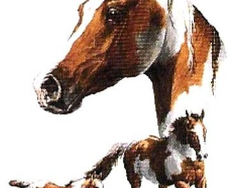 Horse: Quilt Squares of PAINT HORSES on Twelve Identical 6 inch Fabric squares for quilting or sewing