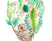 Sacred heart of the nature and spring. Art print. Illustration.