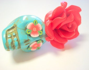 Gigantic Turquoise Sugar Skull and Red Rose Day of the Dead Pendant or Ornament
