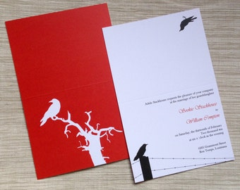 Goth Wedding Invitation Ensemble with Raven Motif in Red and Black - SAMPLE