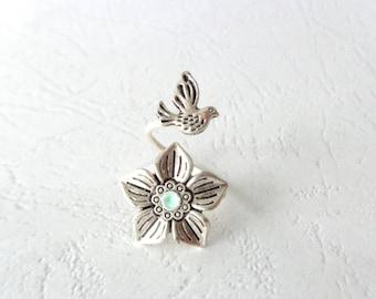 Flower bird mint wrap ring, animal ring, silver ring, statement ring