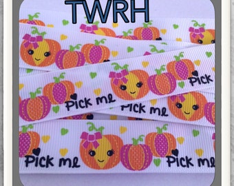 "Pick Me Pumpkins for Harvest Cuties 5 yards 7/8"" on white TWRH"