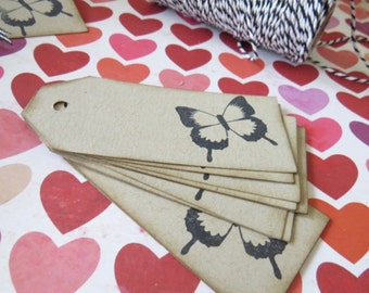 Kraft Butterfly Stamped Shipping Gift Tags - Pk 10 LAST PACK