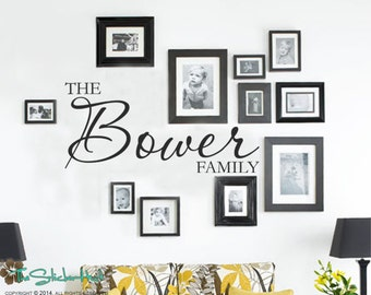 Family Name Vinyl Wall Decal - Gallary Wall Last Name Personalized with Monogram Vinyl Wall Art Lettering Decals Stickers 1653