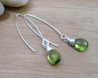 Peridot Earrings Drop Long Sterling Silver Dangle Earrings August Birthstone Earrings Birthstone Jewelry Minimalist Earrings - Essence