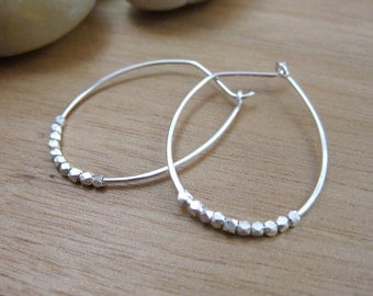 Silver Hoop Earrings Sterling Silver Oblong Hoops Embellished Hoops Minimalist Earrings Minimalist Jewelry Everyday Earrings - Dwell