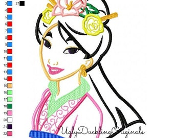 Mulan Princess Machine Embroidery Applique Design Digital Download