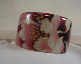 Pink Floral Wide Cuff Bracelet, Accessory, Resin(CCB192)