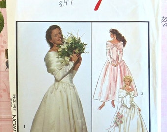 Vintage 1990s Womens Wedding Dress Pattern with Full Skirt and Off the Shoulder Collar -Style 1883