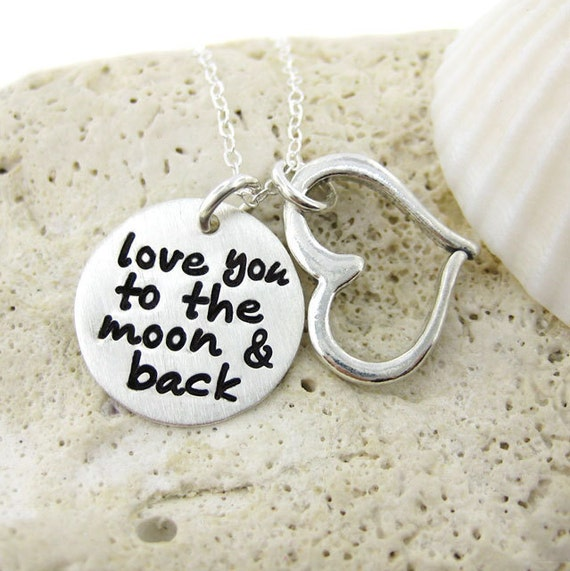 30% OFF SALE - Love you to the moon and back - Sterling Silver necklace with a Heart charm (NN001)