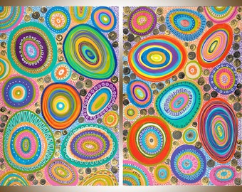 """Set of Two Huge Painting abstract wall art wall decor hand paint canvas art colorful Impasto painting ready to hang """"Joyful"""" by QIQIGallery"""