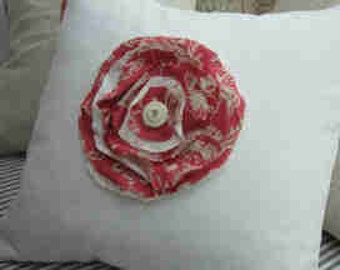 """French Cottage, 18"""" Down Pillow, Toile, ReD FLoWer, ShaBBy Chic, White Twill, Bedroom, Urban Loft, Industrial, Farmhouse, Throw Pillow"""