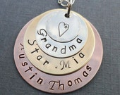 Grandma Necklace-  Hand Stamped Stacked Mixed Metals-  Custom Grandma Name Necklace -S158
