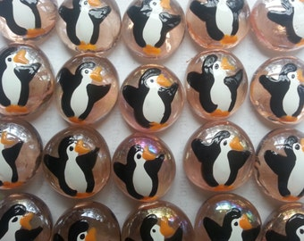 Hand painted glass gems party favors art penguins penguin on pink gems