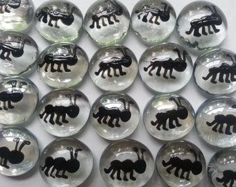 Hand painted Glass Gems for crafts , party decorations, favors  ants ant
