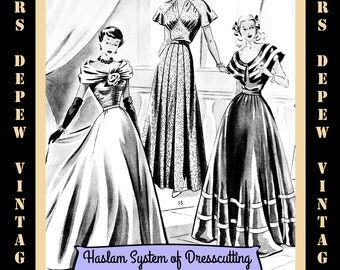Haslam Dresscutting Book Autumn & Winter No. 27 1940's 1950's Vintage Sewing Pattern E-book with 37 Pattern Draftings