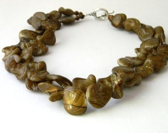 Brown Striped Shell Necklace Beaded Necklace Toggle Clasp