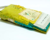 Eco dyed iphone pouch treasure bag hand stitched in lime green and teal blues