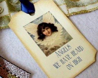 Christmas Gift Tags -  Set of 5 - Victorian - Angel