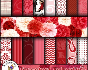 Sweetest Valentine Set 1 - Digital Scrapbook Papers - 18 jpg files patterned by damask, dancing couple, hearts, etc {Instant Download}