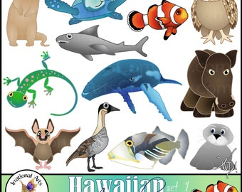 Hawaiian Animals set 1 with 12 digital clipart graphics INSTANT DOWNLOAD clownfish mongoose shark boar gecko whale bat seal owl goose turtle